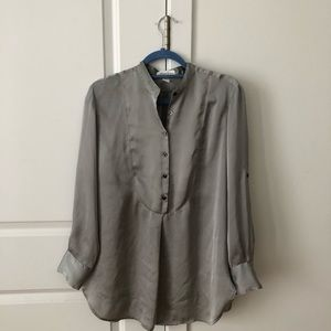 Kenneth Cole gray silky oversized button down 4